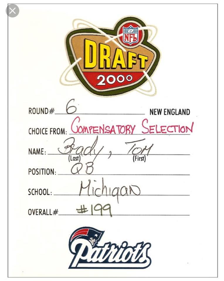 Tom brady draft card 199