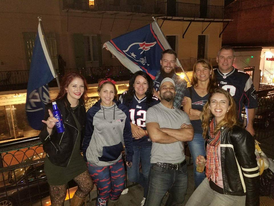 Patriots on the balcony