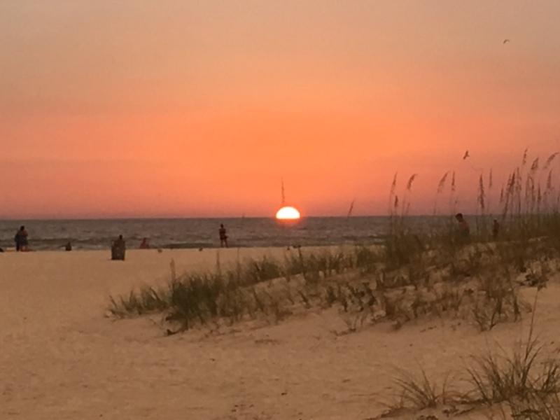 Beach view at sunset
