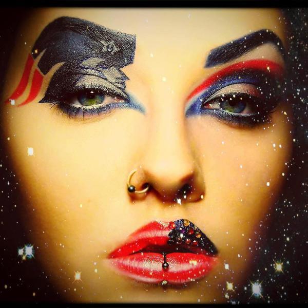 Patriots makeup woman