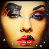 Patriots makeup woman